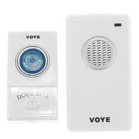 Беспроводной звонок на входную дверь VOYE V002A AC: 38 мелодий, питание сеть 220В/батарейка 12В