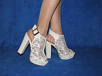 Свадебные босоножки гипюр кружево на высоком каблуке стрипе белые черные бежевые 36-40