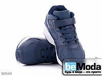 Стильные женские кроссовки Violeta Navy из экокожи с оригинальной застежкой липучкой  синие