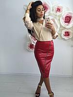Женская кожаная юбка-карандаш с молнией, 3 цвета