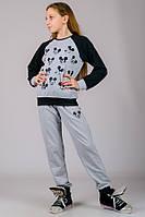 Детский спортивный костюм с Микки Маусом серый брюки на резинке (манжет) трикотажный Турция