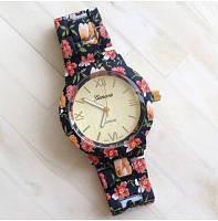 Женские часы Geneva с цеточным керамическим браслетом черные