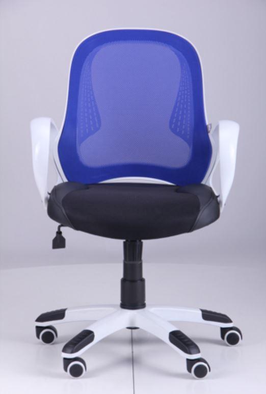 Кресло Матрикс-LB Белый, сиденье Сетка черная/спинка Сетка синяя
