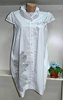 Белая туника короткий рукав с воротником стойка, фото 1