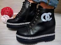 Женские стильные демисезонные ботинки шанельки черный цвет, 38 41р.