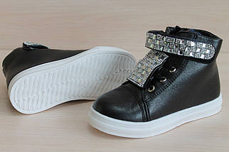 Черные ботинки слипоны на девочку, демисезонная обувь тм JG р. 30, фото 2