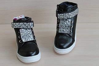 Черные ботинки слипоны на девочку, демисезонная обувь тм JG р. 30, фото 3