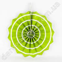 Подвесной веер, салатовый с тонкой полосой, 20 см - бумажный декор-розетка