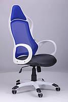 Кресло Nitro белый, сиденье Неаполь N-20 /спинка сетка синяя