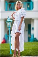 Летнее платье из хлопка со шлейфом