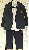 Детский костюм для мальчика (Легкие котоновые брюки,рубашка с бабочкой и тонкий пиджак)