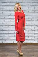 Платье женское футляр красное, фото 1