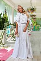 Платье  из хлопка со вставками  прошвы