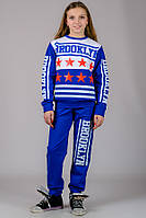 Подростковый спортивный костюм для девочек синий модный брюки на резинке (манжет) трикотажный Турция