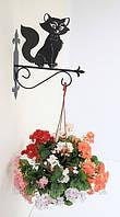 Настенная подставка для подвесного цветка Кошка К-2
