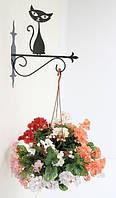 Настенная подставка для подвесного цветка Кошка К-6