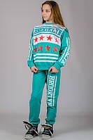 Подростковый спортивный костюм для девочек бирюзовый модный брюки на резинке (манжет) трикотажный Турция