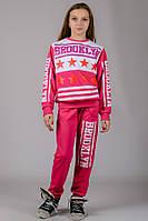 Подростковый спортивный костюм для девочек розовый модный брюки на резинке (манжет) трикотажный Турция