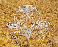 Подставка для цветов белая Сердце С3 (свадебная подставка)
