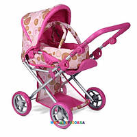 Прогулочная коляска для куклы 2 в 1 с люлькой «Mary» розовая Todsy 9346P