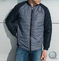 Весенне-осенняя куртка (бомбер) Staff - Melange dark blue Art. BR20005 (тёмно-синий \ серый)