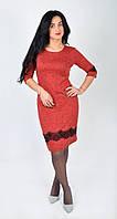 """Модное молодежное платье """"Черное кружево"""" коралового цвета."""