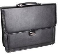 Классический мужской портфель хорошего качества кожзам 303934 черный