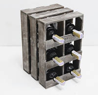Мини-бар прованс ящик вертикальный на 6 бутылок Коричневый