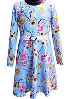Нарядное голубое платье в цветы 122-140р