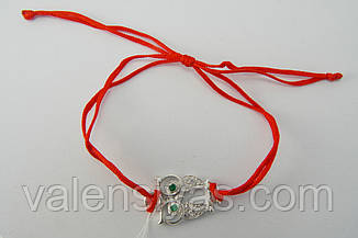 Браслет червона нитка з сріблом Мудра сова, фото 2