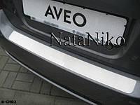 Chevrolet Aveo T250 2005-2011 гг. Накладка на задний бампер Натанико (нерж.) Хетчбек - 3 или 5 дверный