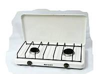 Газовая плитка Вогник ПГ2-Н с крышкой (2 конфорки, белый, коричневый)
