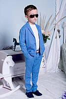 Костюм на мальчика, 98 - 134, 134 - 158 см. Детский брючный костюм, лён. 2017