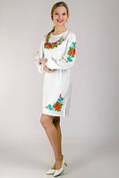 Платье вышиванка Калина (с длинным рукавом), белое, M - XXL