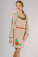 Платье вышиванка Калина (с длинным рукавом), бежевое, M - XXL
