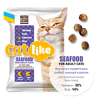 Nutra 5 Stars Cat Seafood for Adult Cats – корм для взрослых кошек с креветками, рыбой, курицей 10кг