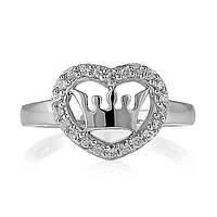"""Кольцо из серебра 925 пробы """"Корона в сердце"""""""