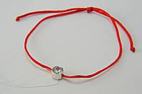 Шелковый браслет-оберег с кристаллом в серебре