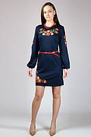 Платье вышиванка Маки (с длинным рукавом), черный,  M - XXL