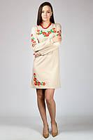 Платье вышиванка Маки (с длинным рукавом), бежевый, M - XXL