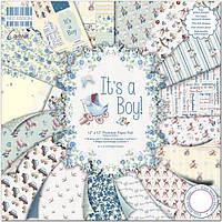 Набор скрап бумаги It's a Boy  от First Edition, 20х20 см, 16 шт., фото 1