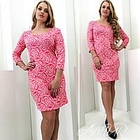 Женское платье из жаккарда выше колена БАТАЛ