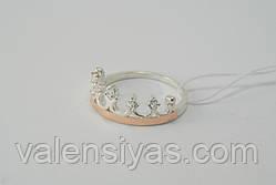 Кольцо-корона с золотыми вставками и цирконами, фото 3