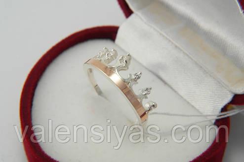 Кольцо-корона с золотыми вставками и цирконами, фото 2