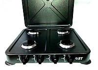 Газовая плита настольная ST DT 63-401AG темно-серая (4 конфорки, пьезорозжиг)