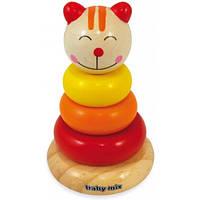 Пірамідка дерев`яна - Котик, ТМ Baby mix
