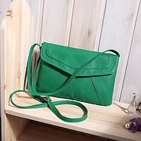 Женская сумка через плече на плече зеленая