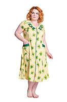 Халат большой размер Анна лимон/зелен.цветок 50-60