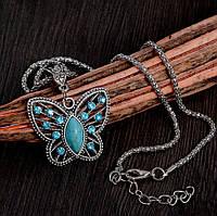 """Модная подвеска украшение на цепочке """"Бабочка"""" с кристаллами, серебристый цвет"""