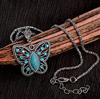 """Модна підвіска прикраса на ланцюжку """"Метелик"""" з кристалами, сріблястий колір"""